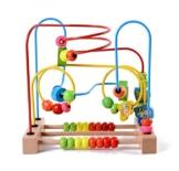 Lewo Motorikschleife aus Holz mit drei verschiedenen Schleifen Tierkreis Roller Coaster um Korn Maze Spielzeug für Kinder - 1