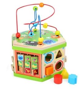 """Motorikwürfel """"Safari"""", Baby-Kinderspielzeug aus Holz, vielfältiges Spielerlebnis auf sieben Spielflächen, Tierwelt mit Motorikschleife, Schiebespiel und Rechenschieber, ab 12 Monate - 1"""