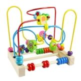 Yoptote Holzspielzeug Perlen-Labyrinth Roller Coaster Spiel Motorikschleife aus Holz Für Kinder ab 3 Jahren (Insect Beads Maze) - 1